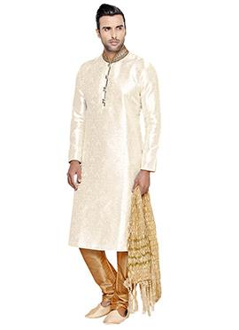 Foliage Design Off - White Brocade Kurta Pyjama