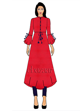 Fuschia Pink Bell Sleeve Georgette Top