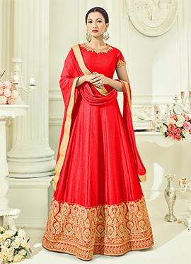 Gauhar Khan Orange Abaya Style Anarkali Suit