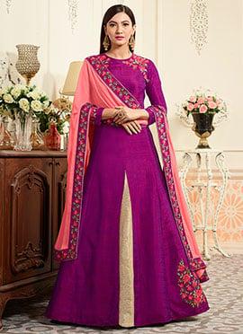 Gauhar Khan Purple Long Choli Lehenga