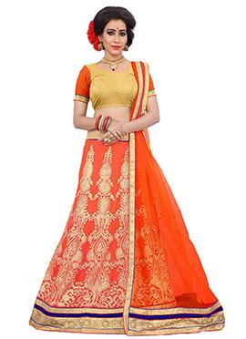 Georgette Orange Embroidered Lehenga Choli