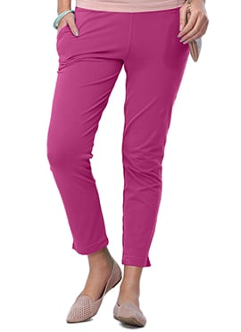 Go Colors Magenta Cotton Straight Pant
