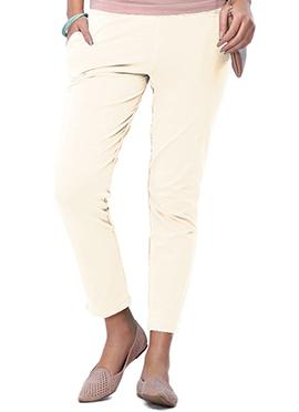 Go Colors Cream Cotton Straight Pant