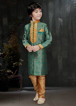 Gold N Blue Art Benarasi Silk Kids Kurta Pyjama