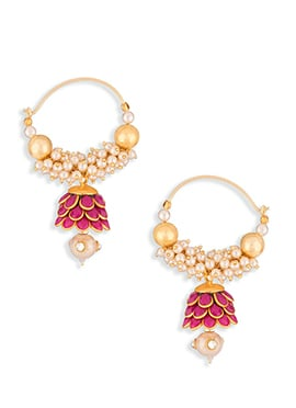 Gold N Magenta Colored Pearl Studded Hoops