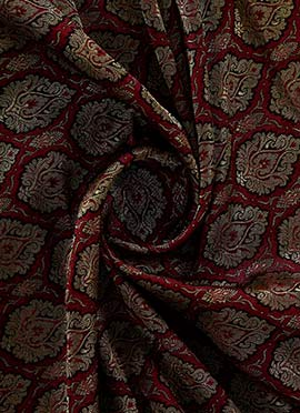 Gold N Maroon Brocade Fabric
