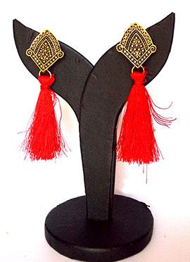 Gold N Orange Dangler Earings