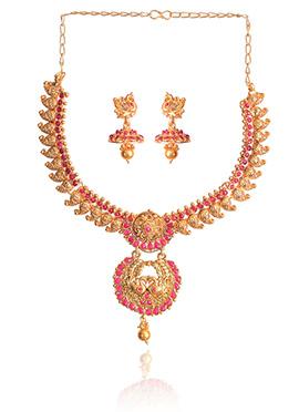 Gold N Pink Necklace Set