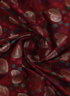Gold N Red Brocade Fabric