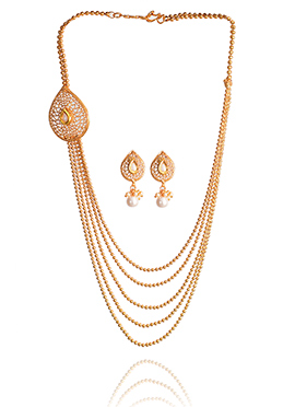 Gold N White Necklace Set