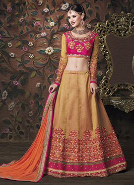 Golden Art Silk A Line Lehenga Choli