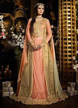 Golden Beige N Pink Heavily Embroidered Anarkali S