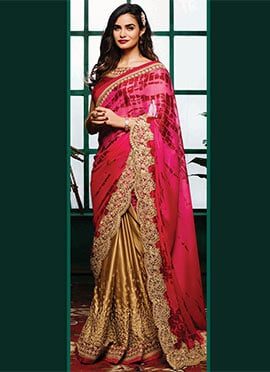 Golden N Dark Pink Half N Half Saree