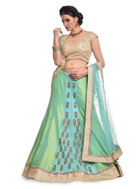 Green And Blue Net N Silk Lehenga Choli
