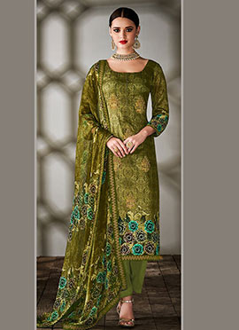 Green Art Tussar Silk Straight Pant Suit