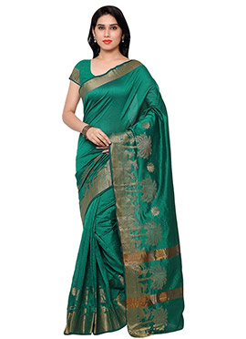 Green Benarasi Art Silk Saree
