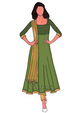 Green Brocade Anarkali Suit
