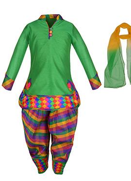 Green Cotton Silk Kids Patiala Suit