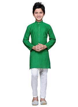 Green Cotton Striped Teens Kurta Pyjama
