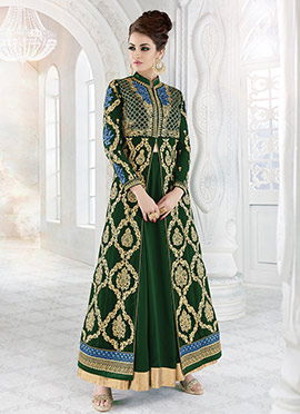 Green Georgette Anarkali Lehenga