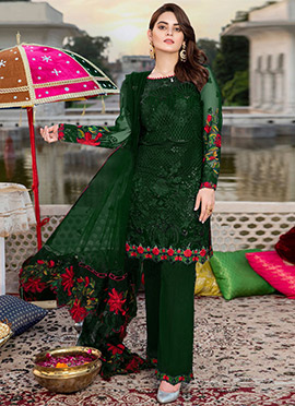 Green Georgette Straight Pant Suit