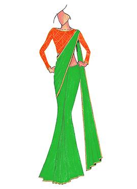 Green Georgette saree with Orange Mogra Silk Blous