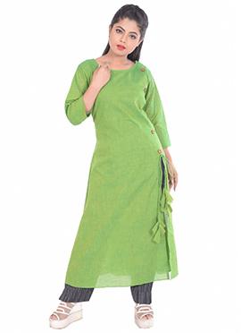 Green Linen Kurti