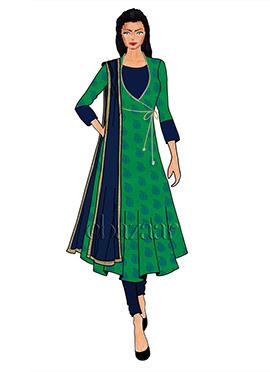 Green Makhmali Satin Angrakha Anarkali Suit