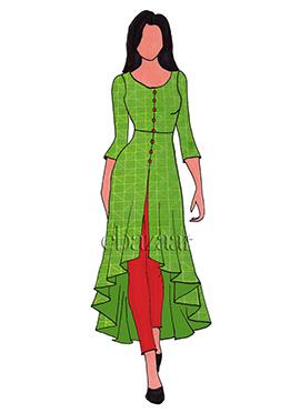 Green Mogra Silk Asymmetrical Top
