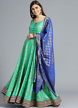 Green N Blue Full Length Anarkali set