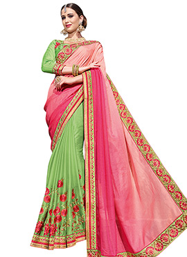Green N Pink Half N Half Saree