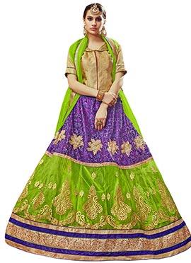 Green N Purple Lehenga Choli