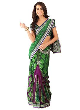 Green N Purple Ombre Saree