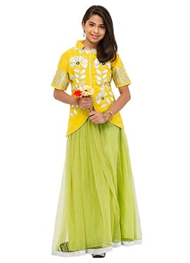 Green N Yellow Net Teenage Lehenga Choli