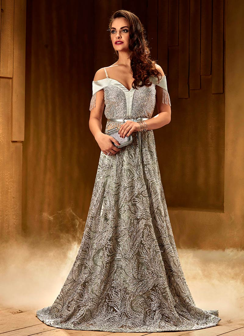 Buy Grey Anarkali Gown, Sequins, dresses and gown Online Shopping ...
