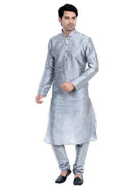 Grey Art Silk Kurta Pyjama