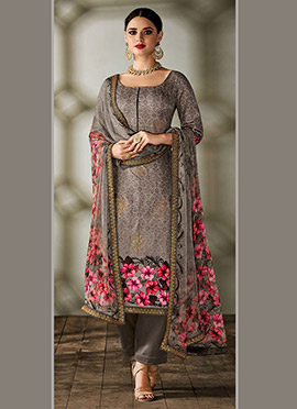Grey Art Tussar Silk Straight Pant Suit