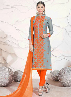 Grey Chanderi Cotton churidar Suit