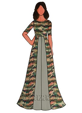 Grey Cotton Floral Printed Gown