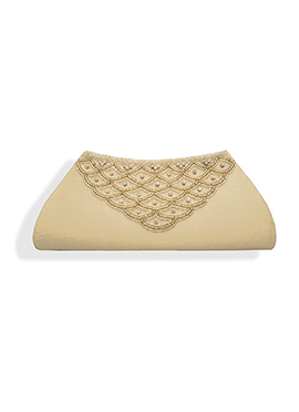 Cream Dupion Silk Clutch