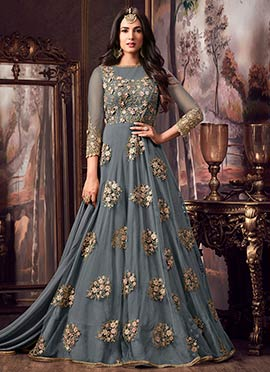 Grey Embroidered Abaya Style Anarkali Suit