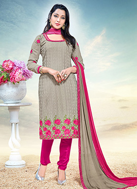 Grey Georgette Straight Suit