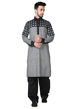 Grey Linen Cotton Pathani Set