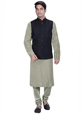 Grey N Black Benarasi Silk Cotton Bandi Set