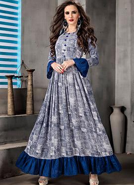 Grey N Blue Printed Dress