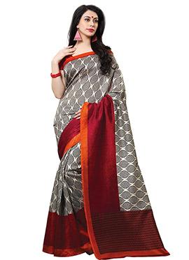 Grey N Red Tussar Silk Printed Saree