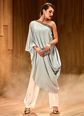 Grey N White Indowestern Draped Set
