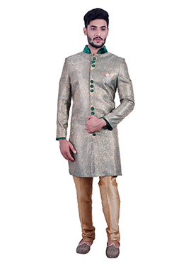 Grey Silk Brocade Sherwani
