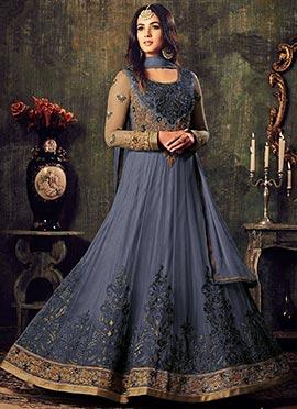 Grey Soft net Abaya Style Anarkali Suit