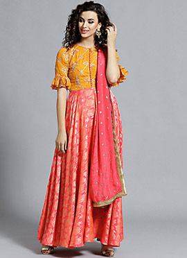 High Neck Style Yellow N Peach Anarkali Suit